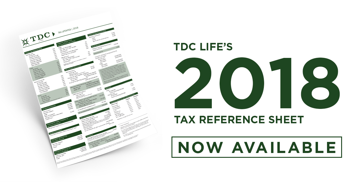 2018 Tax Reference Sheet Now Available